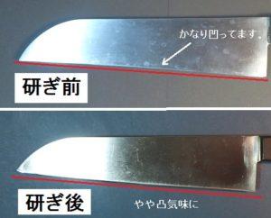 ロールシャープナーを使いすぎた(推測)ので刃がくぼんでしまった三徳包丁を研ぎなおして修正